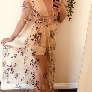 Romper maxi embroidery dress